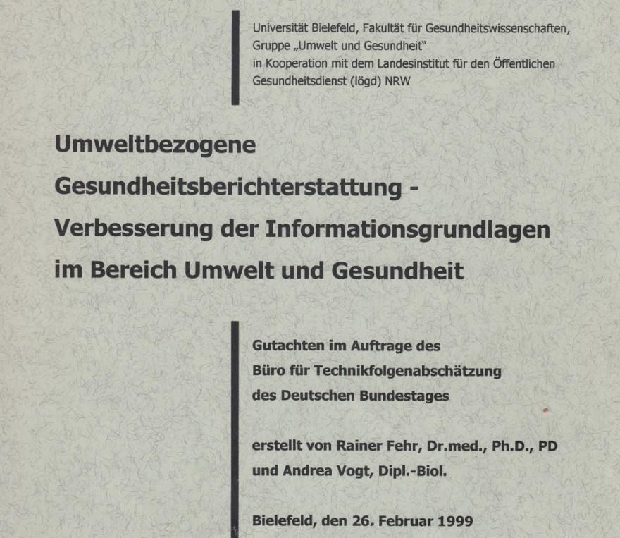 1999 Fehr, Vogt: Umweltbezogene GBE, für TA-Büro des Bundestages