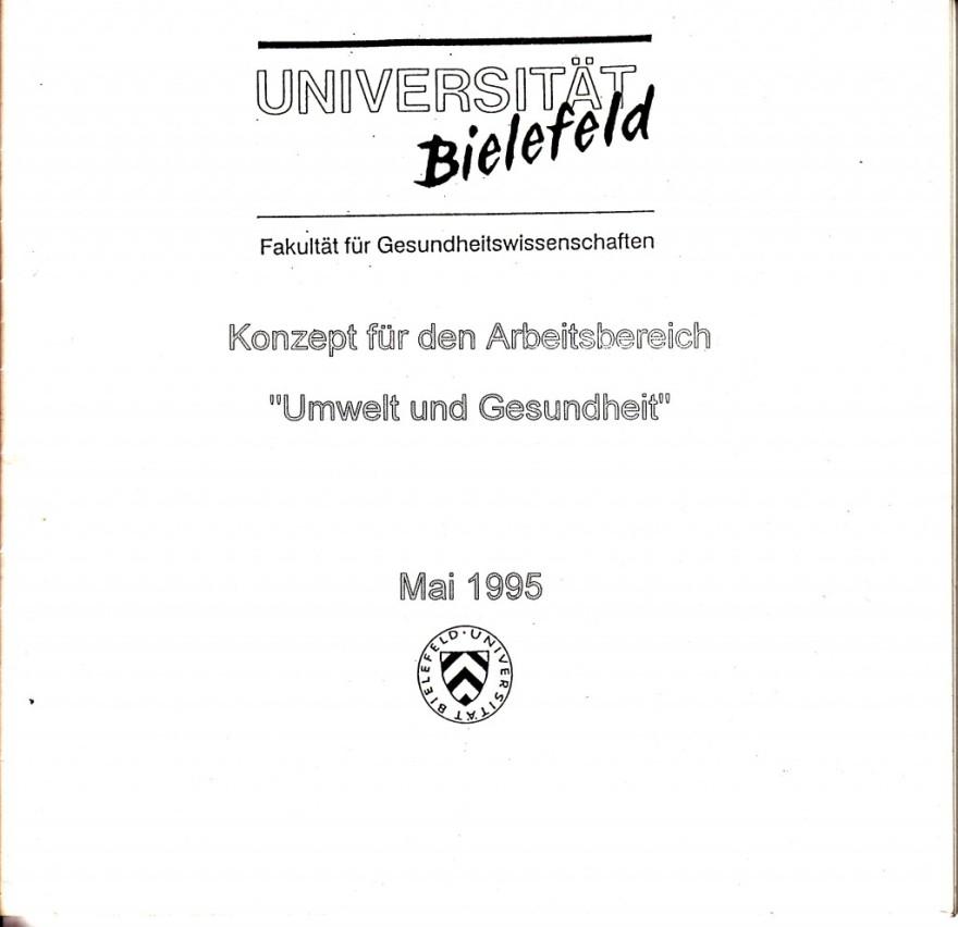 1995_05 U Bielefeld: Umwelt und Gesundheit / Konzept für Arbeitsbereich