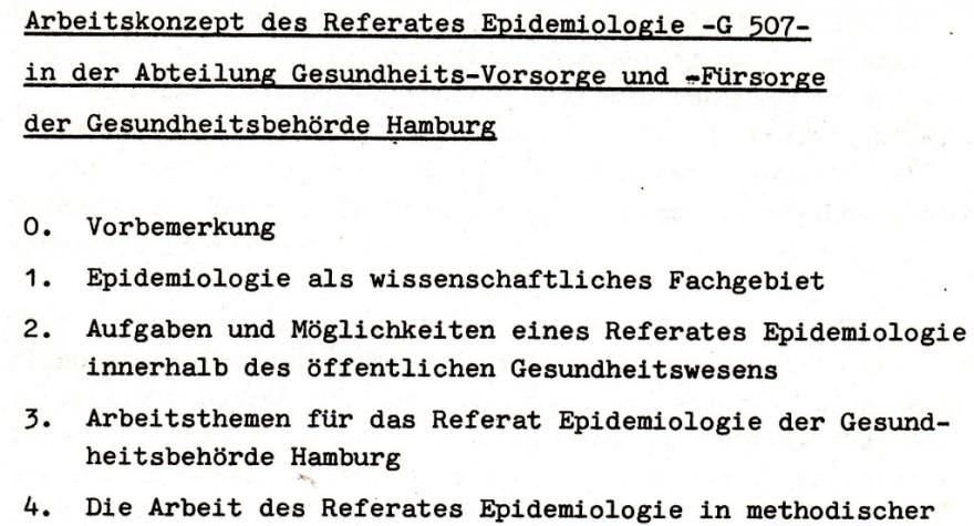 1981 Referat Epidemiologie, Gesundheitsbehörde Hamburg: Arbeitskonzept