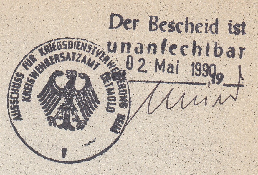1990_05_02 Kriegsdienstverweigerung