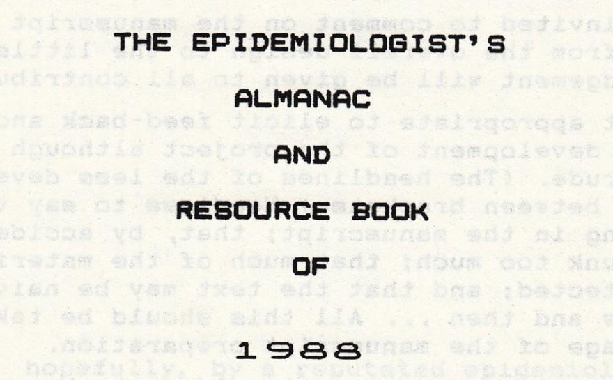 1988 Epidemiologist's Almanac