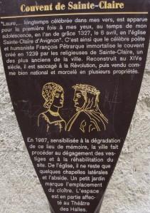 2015_03_21 Avignon (F), Petrarca & Laura, Couvent de Sainte-Claire