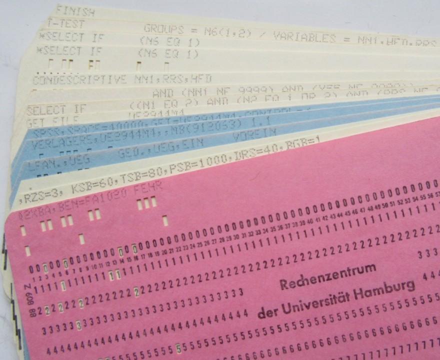 1980er U Hamburg, Rechenzentrum: Hollerith cards; BEN=FA1020