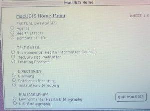 1989-1990 MacUGIS 1.0, Home menu