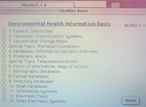 1989-1990 MacUGIS 1.0, EH information basis