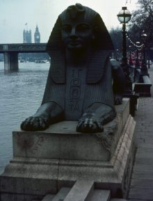 1969_10 Sphinx near Cleopatra's Needle, London