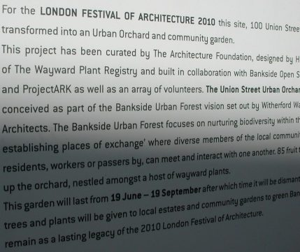 2010_10_23 London, 100 Union Street: Urban Orchard proj