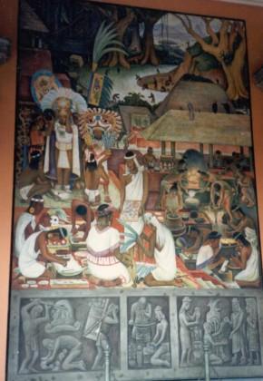 1986_12 Mexico City: Wandgemälde von Diego Rivera