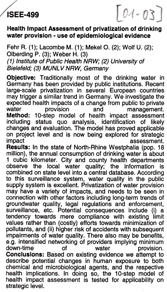 01_03 RF et al 2001 HIA Drinking water priv 2001 Abstract