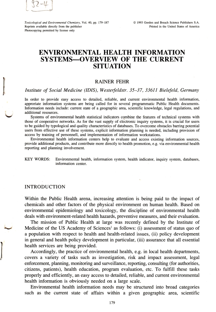 92_04 Fehr EH Inf systems - Tox Chem 1992_09_14-18